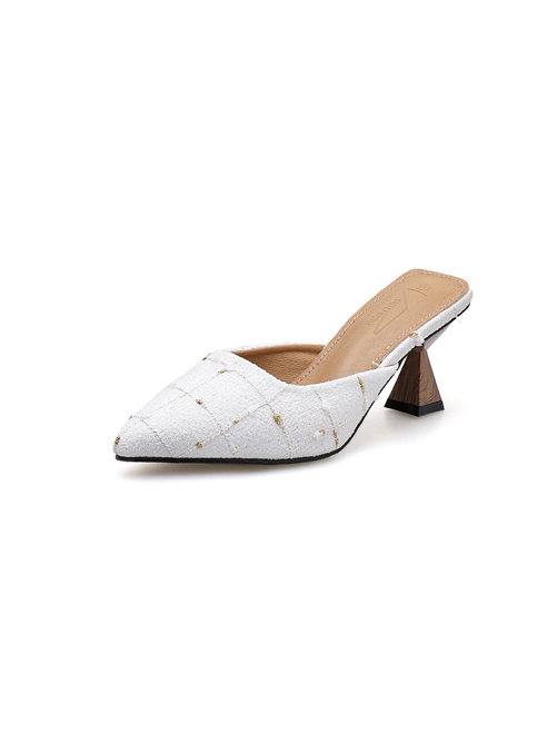Fashionable Plaid Pointed Mules Slippers in White/Black - Selerit