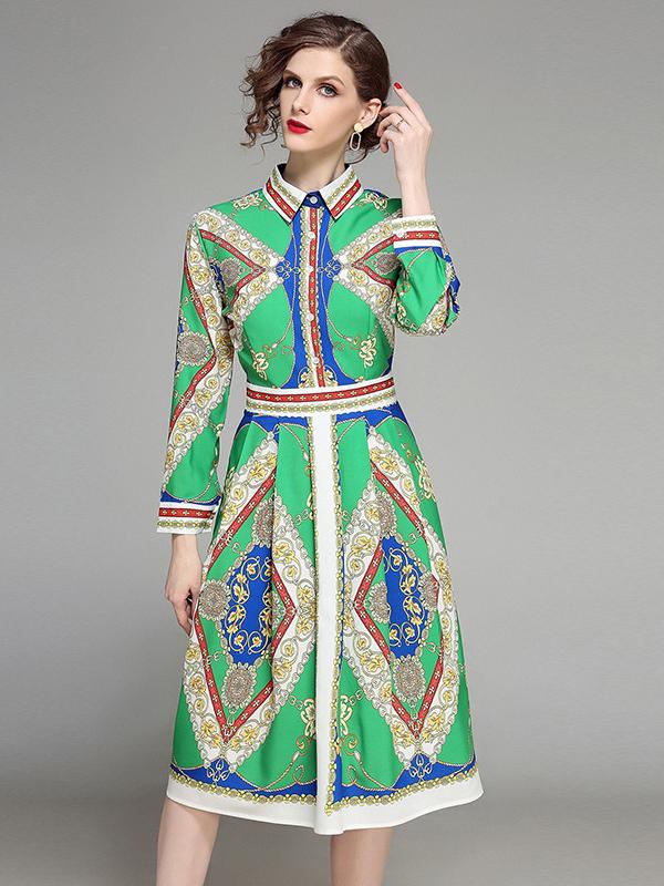Print Fitted Long Sleeve Shirt Dress in Green - Selerit