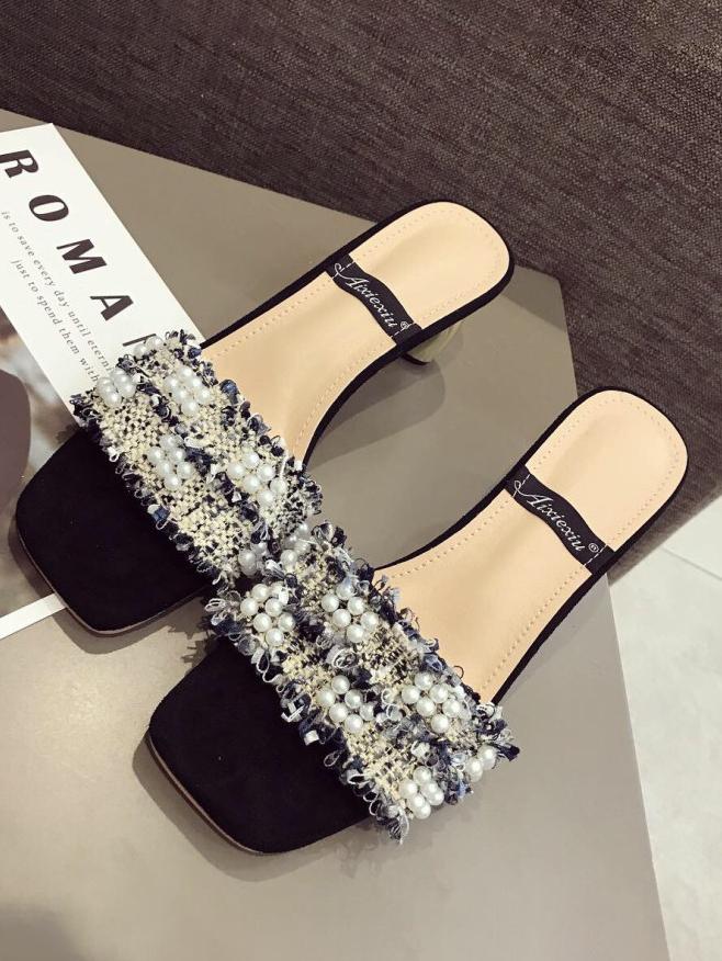 Square Toe Beading Contrast Color Metal Heel Slippers in White/Blue - Selerit
