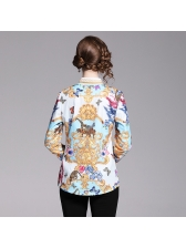 Euro Printed Button Up Women Blouse in White - Selerit