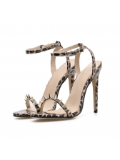 Thin Heel Leopard Printed Rivet Sandals in Khaki - Selerit