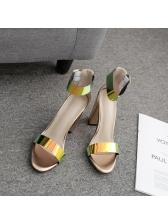 Stylish Buckle Thick Heel Women Sandals in Golden - Selerit