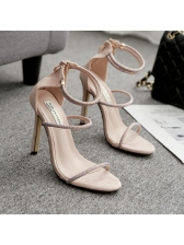 Rhinestone Ankle Strap Thin Heel Lady Sandals in Black/Apricot - Selerit