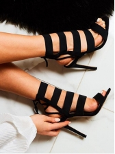 Suede Lace Up Strappy Sandals in Black - Selerit