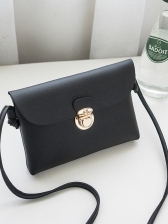 Korean Solid Color Pu Crossbody Bag - Selerit