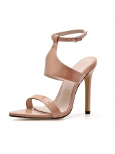 Patent Leather A-Buckle Strap Pointed Sandals in Black/Apricot - Selerit