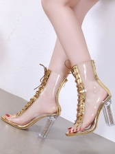 PVC Lace Up Peep-Toe Clear Mid Calf Boots in Black/Apricot/Golden - Selerit