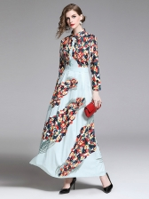 Printed Fitted Draped Maxi Dresses in Light Blue - Selerit