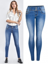 Solid Mid Waist Single-Breasted Fitted Jeans in Blue - Selerit