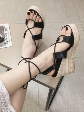 Easy Matching Solid Lace Up Women Wedges in Black/Apricot - Selerit