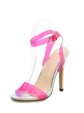 Summer Candy Color Snake Printed Stiletto Sandals in Fluoresce Yellow/Rose - Selerit