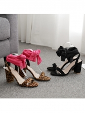 Leopard Printed Lace Up Chunky Heel Sandals in Black/Rose Red - Selerit