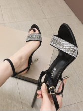 Chic Rhinestone Letter A-Buckle Strap Heeled Sandals in Black - Selerit