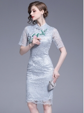 Charming Embroidery Fitted Lace Short Sleeve Dress in Blue Gray - Selerit