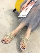 Stylish Studded Rhinestone Summer Slippers in Black/Apricot - Selerit