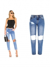 Bf Style Low Waisted Destroyed Jeans in Deep Blue - Selerit