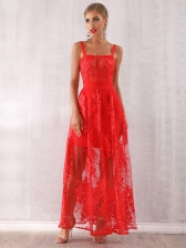 Boutique Lace Red Evening Sleeveless Maxi Dress in Red - Selerit