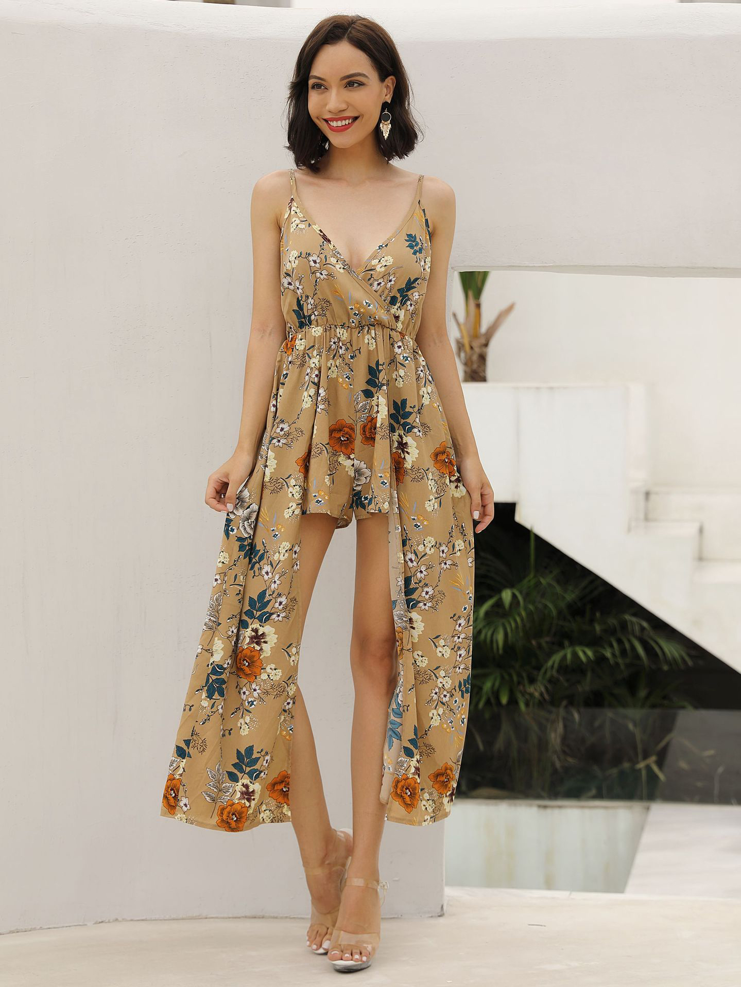 Stylish Flower Printed Spaghetti Strap Rompers in Khaki - Selerit