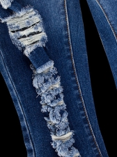 Graduated Color Ripped Cropped Jeans in Blue - Selerit