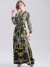 Elegant V Neck Tie-Wrap Printing Maxi Dress in Black - Selerit