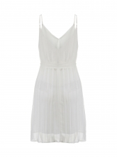 Solid Sexy Striped Beach Straps Dresses in White - Selerit