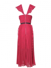 Ladies' Long Red Evening Dress, S-XL, Dot Pleated