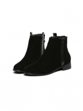 Korean Style Round Toe Martin Ankle Boots in Black/Brown - Selerit