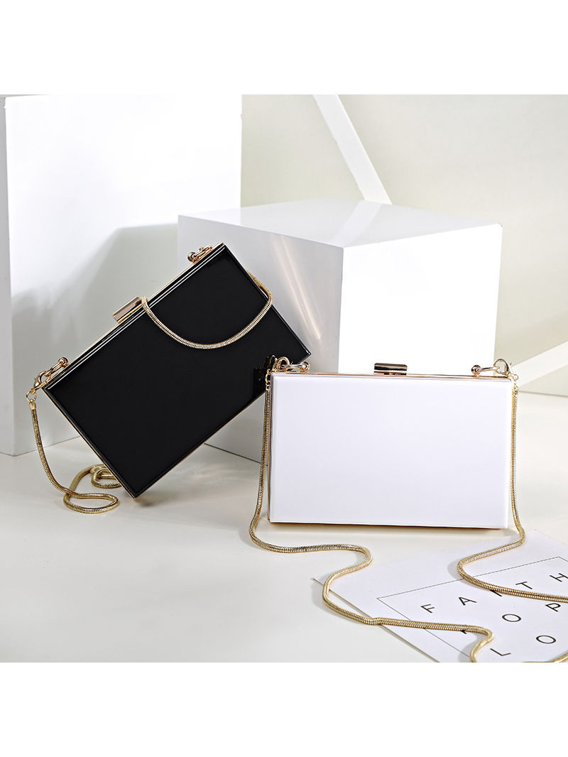 Simple Design Solid Evening Clutch Bag in White/Black/Pink/Silvery - Selerit