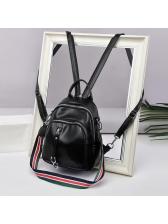 Korean Zipper Striped Belt Leather Backpack For Women in Black - Selerit