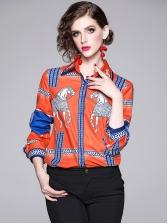 Easy Matching Horse Print Long Sleeve Women Blouses in Orange Red - Selerit