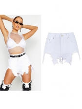 High Waist Irregular Ragged Hem Shorts in White - Selerit