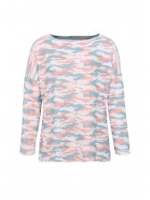 Boat Neck Loose Camouflage Knit T Shirt in Pink/Green/Blue - Selerit