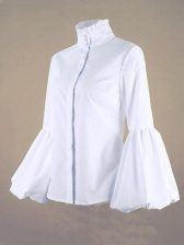 Solid Stand Collar Lantern Sleeve Ladies Blouse - Selerit