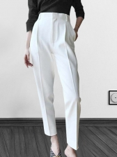Chic Solid High Waisted Ladies Pants in White/Black - Selerit