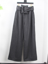 High Waist Big Belt Woolen Wide Leg Pants in Khaki/Gray - Selerit