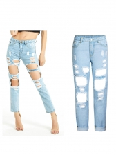 Fashion Straight Ripped Jeans For Women in Light Blue - Selerit