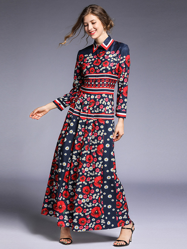 Ladies Flower Printing Long Sleeve Maxi Dress in Red - Selerit