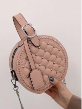 Rivets Decor Rhombus Round Chain Bag - Selerit