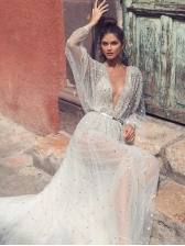 Shinning V Neck Gauze Backless Swing White Maxi Dress in White - Selerit