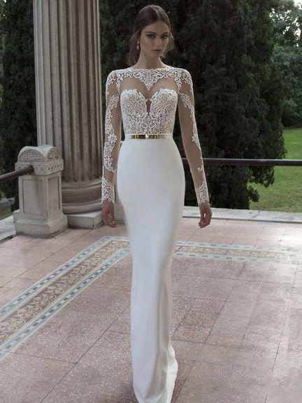 Backless White Long Sleeve Lace Formal Dress in White - Selerit