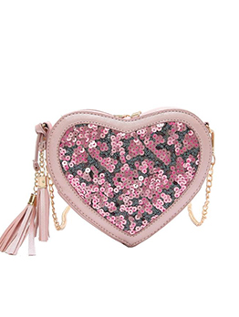 Heart Shape Sequined Tassel Pendant Chain Bag in Black/Pink/Beige - Selerit