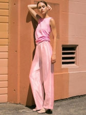Solid Color Drawstring Waist Wide Leg Pants, S-L, Casual, Polyester