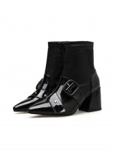 Buckle Strap Solid Heeled Ankle Boots, Two Colors, 35-40, Pu
