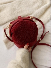 Plush Stitching Bucket Bags With Belt, One Size, Fashion, Patchwork