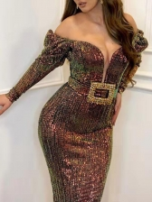 Elegant Off Shoulder Sequin Evening Dress, Coffee, V Neck