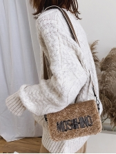 Metal Letter Decorated Wide Belt Fluffy Shoulder Bags, Letter, Cute
