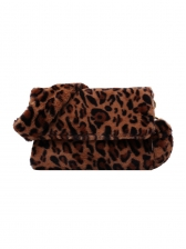 Leopard Print Rectangle Hairy Ladies Shoulder Bag, One Size, Simple