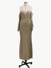 Glitter Long Sleeve Evening Dresses, Gold, Off Shoulder Floor Length