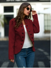 Double Breasted Women Short Winter Coats, Pure Color, 71%-80%Polyester
