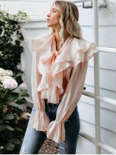 Autumn Sweet Style Tie Neck Pink Ruffle Blouse For Women, Pink, 100%Polyester